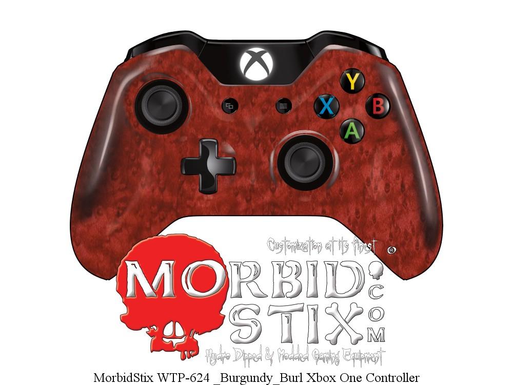 MorbidStix WTP-624 Burgundy Burl Xbox One Controller